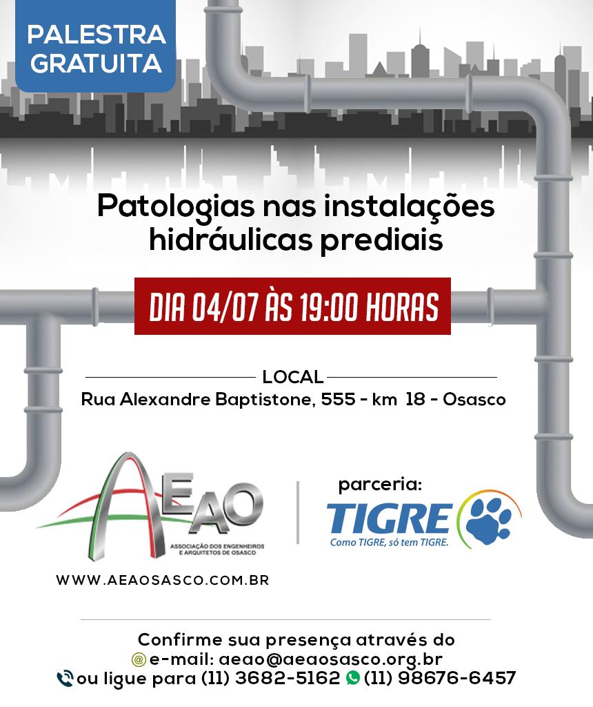 """AEAO promove palestra gratuita sobre """"Patologias nas Instalações Hidráulicas Prediais"""" em julho"""