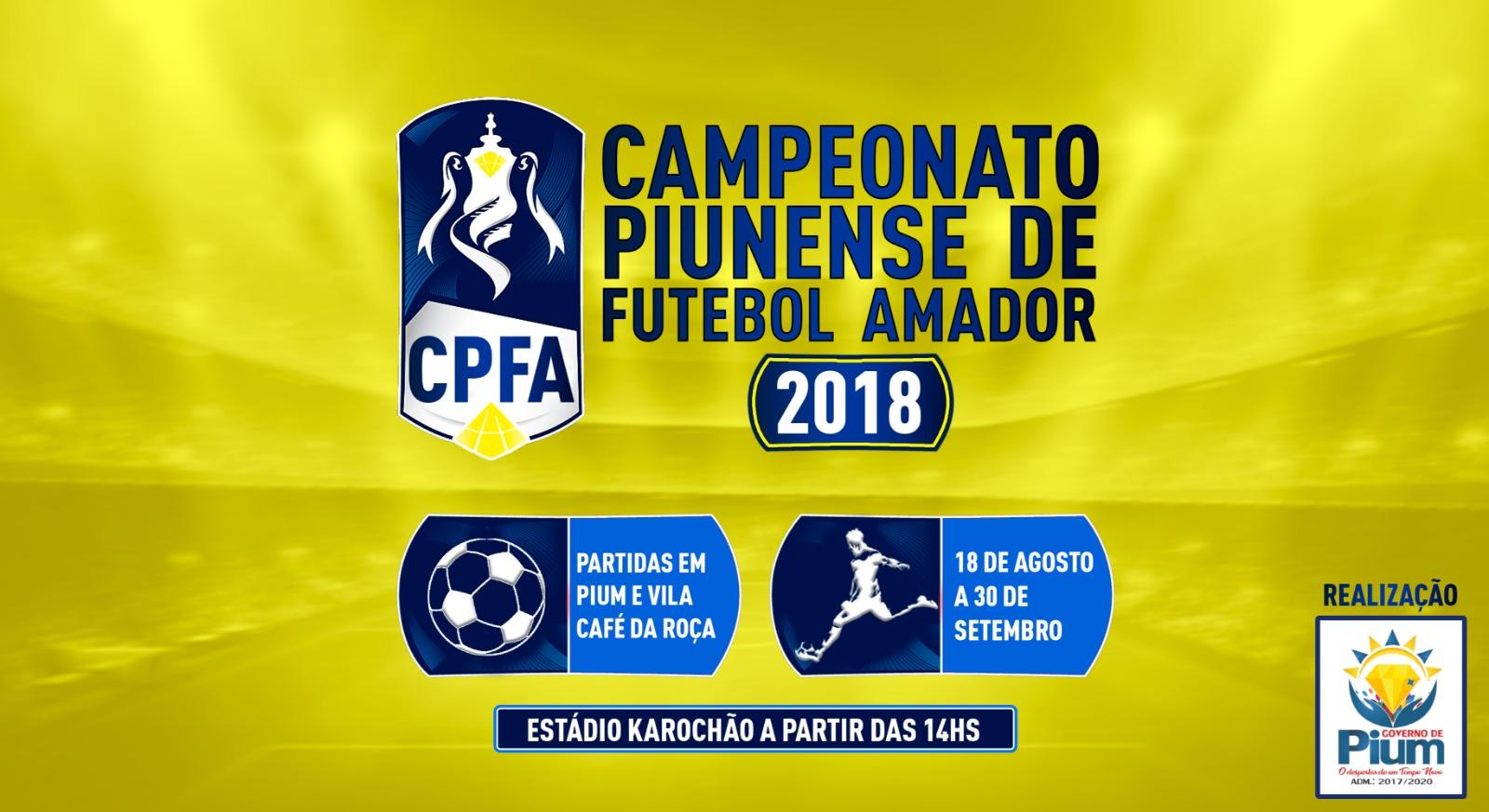 Campeonato de Futebol Amador de Pium (TO) estréia no próximo sábado, 18