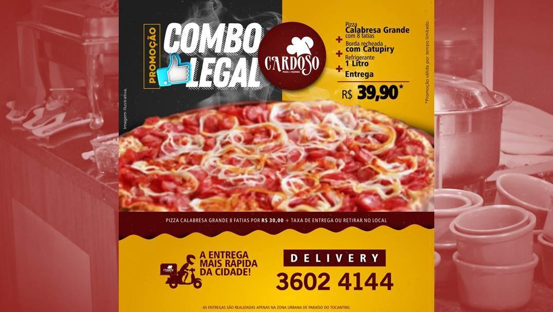 Cardoso Pizza e Cozinha tem promoção especial para serviço de entrega
