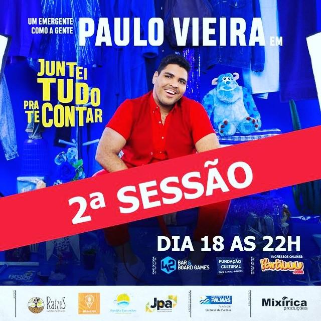 Show de Paulo Vieira terá duas sessões, às 20 e 22 horas, no Theatro Fernanda Montenegro