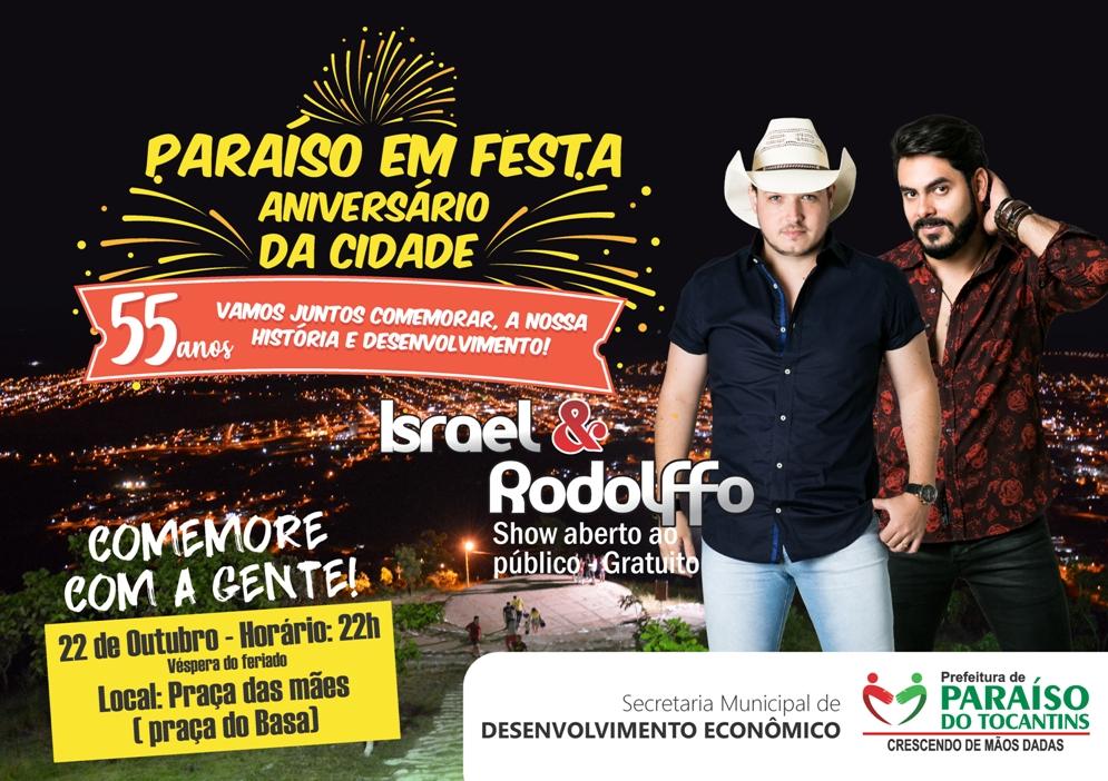 55º aniversário de Paraíso (TO) terá show gratuito de Israel & Rodolffo