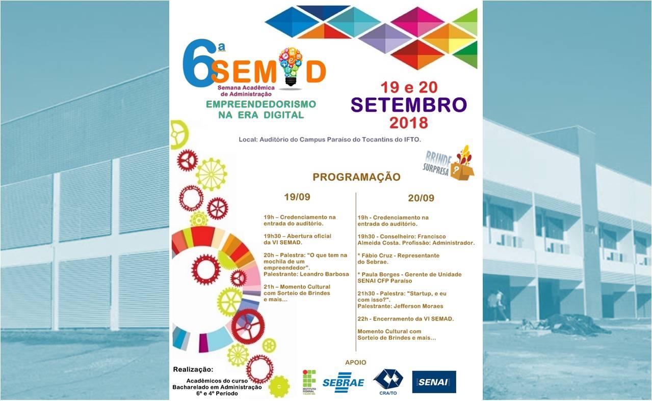 Empreendedorismo na era digital será tema da 6ª SEMAD no Campus Paraíso do IFTO