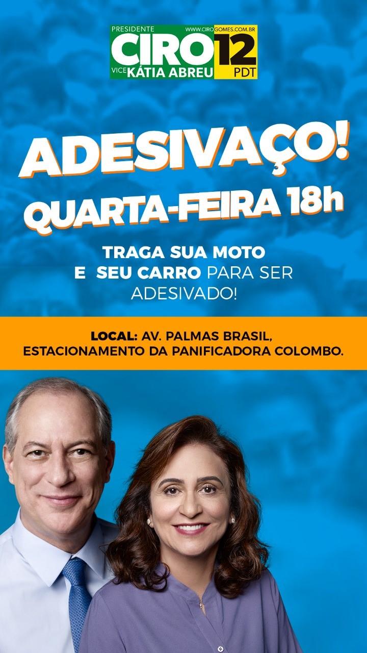 Eleitores realizam adesivaço de Ciro Gomes e Kátia em Palmas