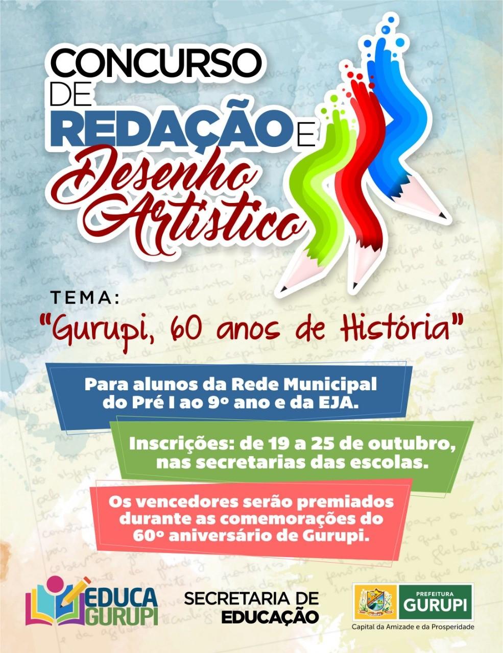Secretaria de Educação lança concurso de redação e desenho em comemoração ao aniversário de Gurupi