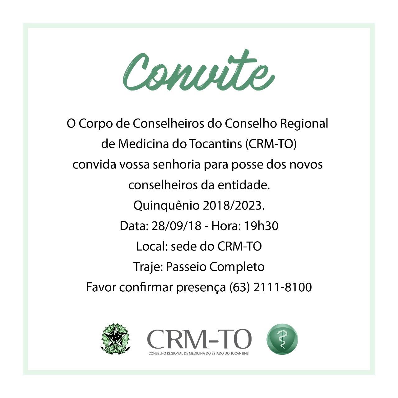 CRM-TO dará posse ao novo Corpo de Conselheiros nesta sexta-feira