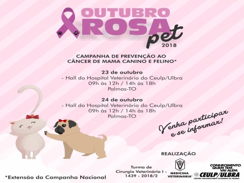 Campanha Outubro rosa pet é realizada no Ceulp/Ulbra
