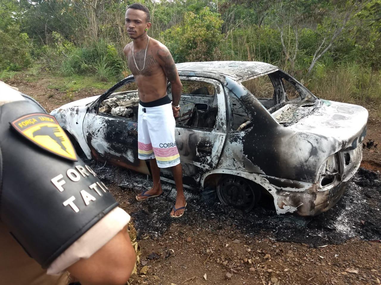 Suspeito que ateou fogo em carro e publicou nas redes sociais é preso pela PM em Palmas