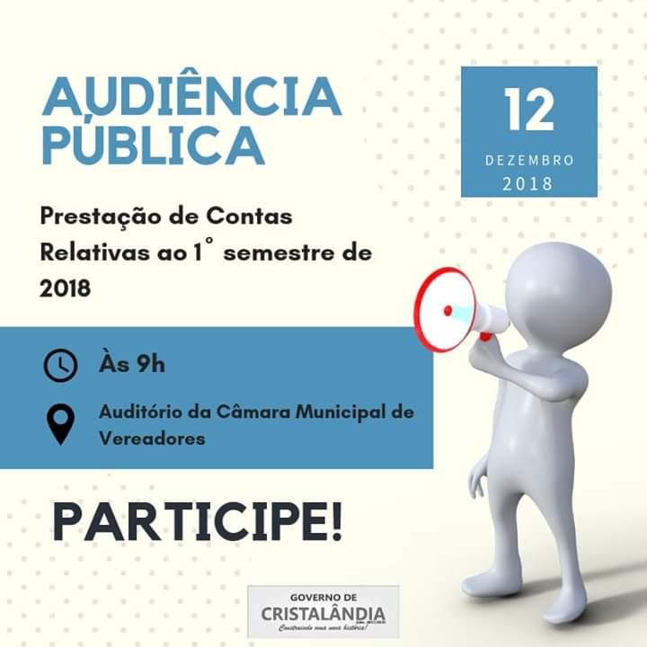 Prefeitura de Cristalândia convoca audiência pública para prestação de contas do 1º semestre de 2018
