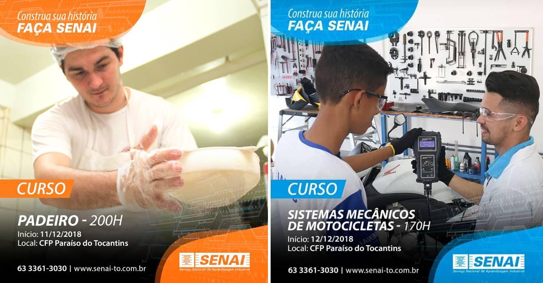 SENAI Paraíso oferece cursos gratuitos para padeiro e mecânico de motocicletas