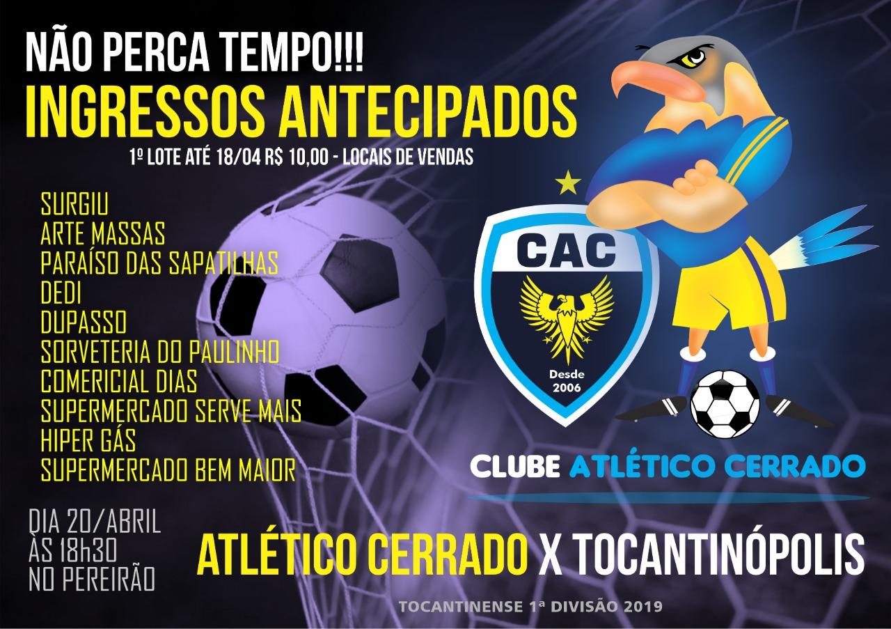 Ingressos à venda: Atlético Cerrado joga em casa neste sábado, 20