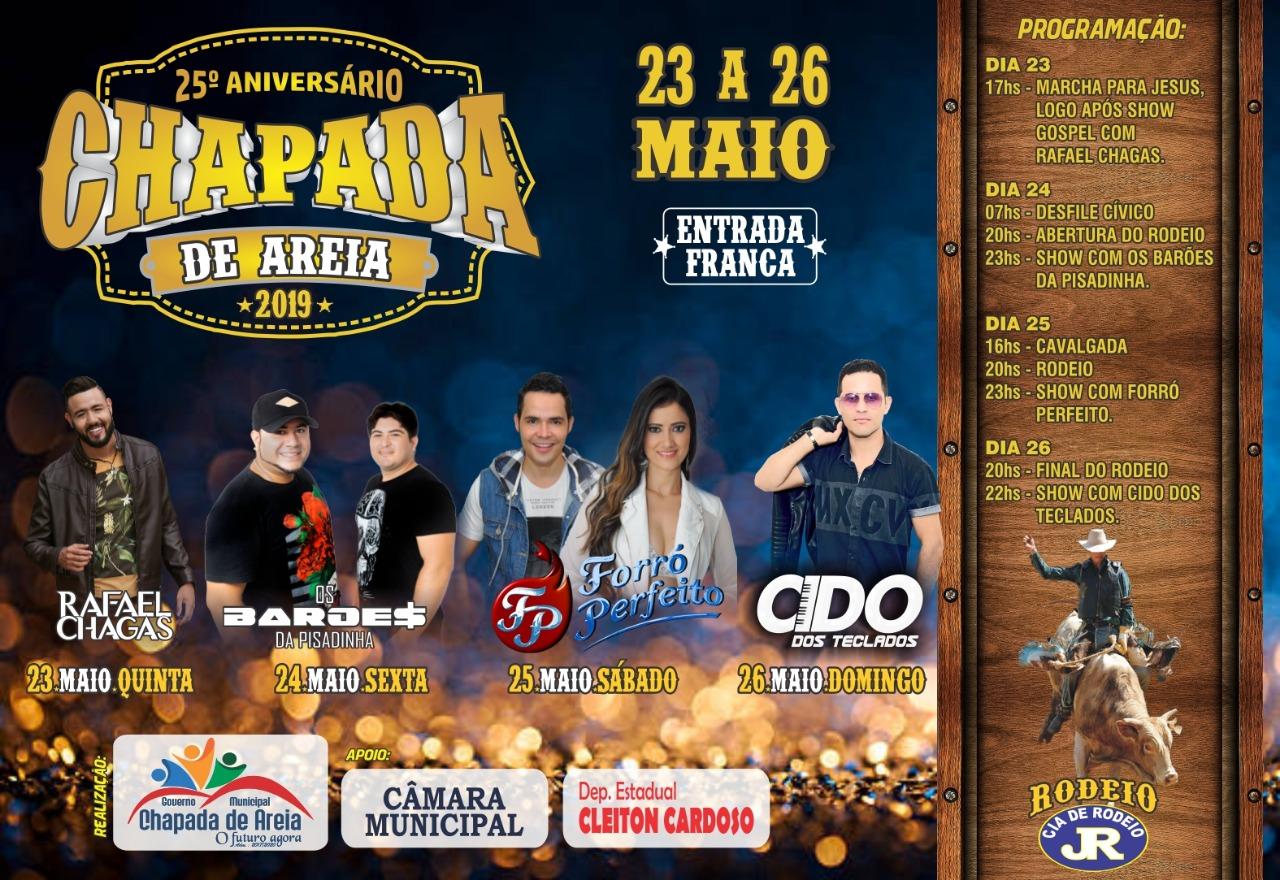 Prefeitura de Chapada de Areia divulga programação do 25º aniversário da cidade