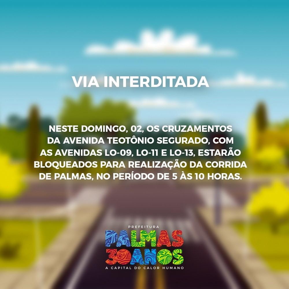 Cruzamentos da Teotônio Segurado serão interditados para a Corrida de Palmas neste domingo, 02