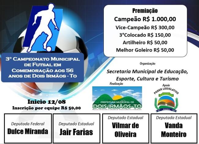 3º Campeonato de Futsal de Dois Irmãos segue até o dia 7 de setembro