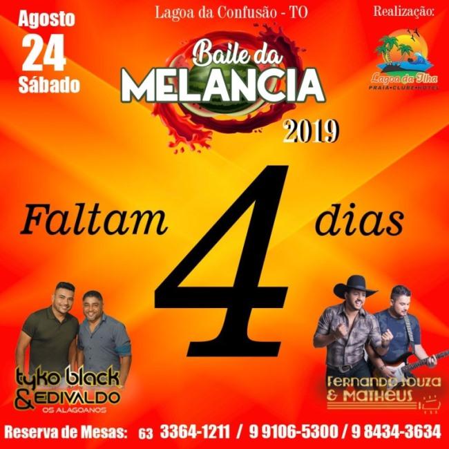 Baile da Melancia acontece neste final de semana em Lagoa da Confusão