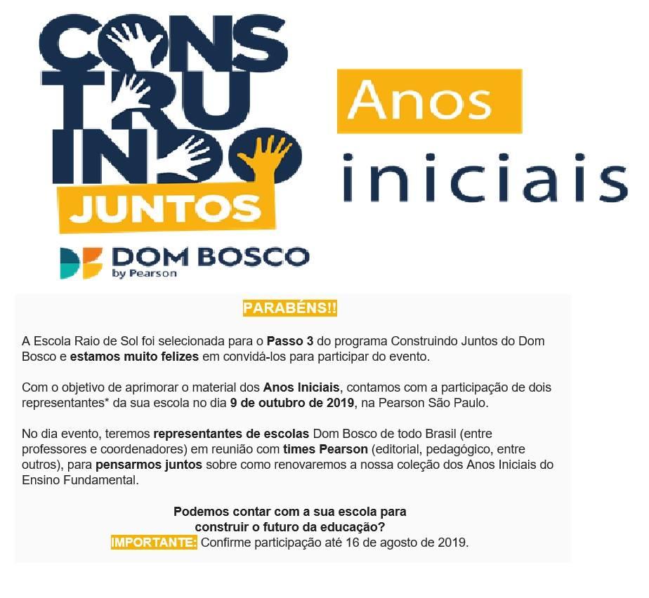Escola Raio de Sol é selecionada para participar de aprimoramento de material didático do sistema Dom Bosco