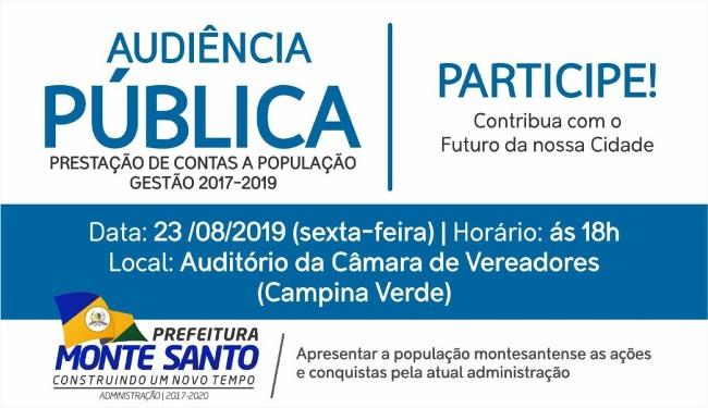 Prefeitura de Monte Santo presta contas em audiência pública nesta sexta, 23