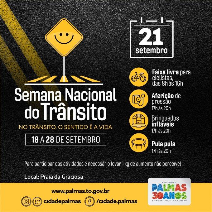 Ação educativa e social será um dos destaques na programação da Semana Nacional de Trânsito em Palmas neste sábado, 21, na Praia da Graciosa