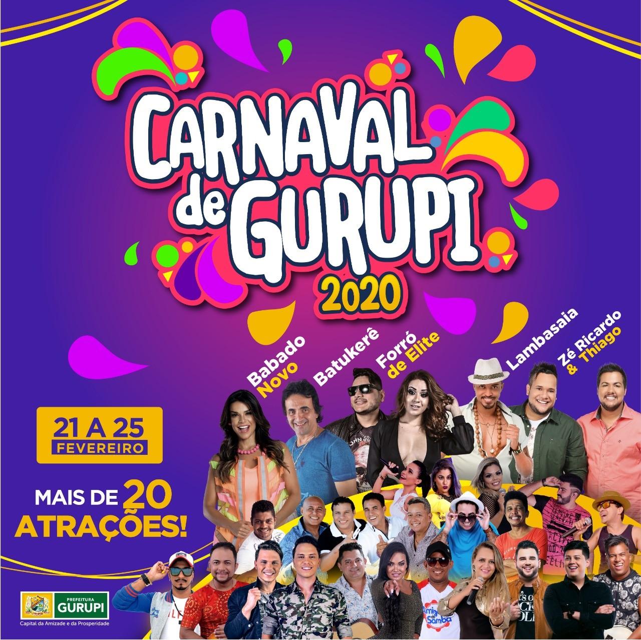Circuito da Folia de Gurupi terá Lambasaia, Babado Novo, Batukerê, Forró de Elite e Zé Ricardo e Thiago
