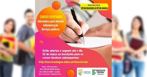 Prefeitura de Lagoa da Confusão e IFTO ofertam 40 vagas para Ensino Técnico