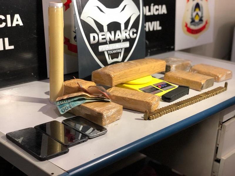 Em operação contra o tráfico em Palmas, Polícia prende dois e encontra drogas e munições de uso restrito