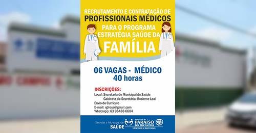 Prefeitura de Paraíso abre 6 vagas para recrutamento de médicos