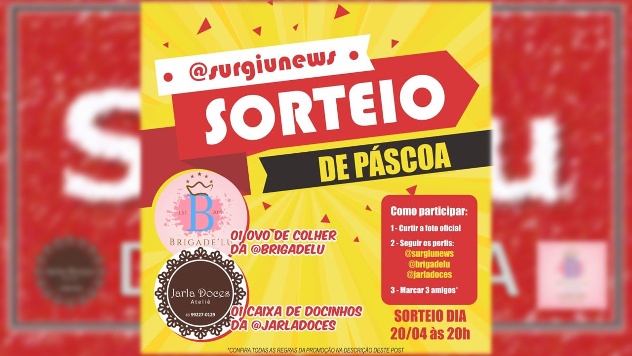 Participe do sorteio de Páscoa no Instagram oficial do Surgiu