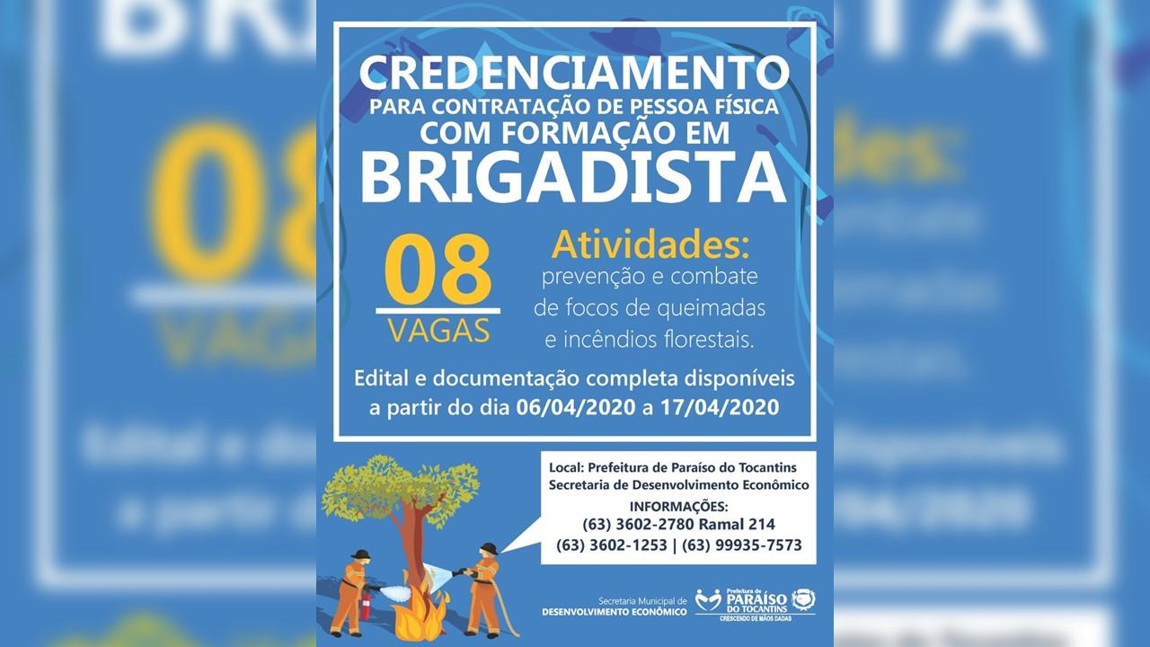 Prefeitura de Paraíso realiza credenciamento para contratação de brigadistas florestais