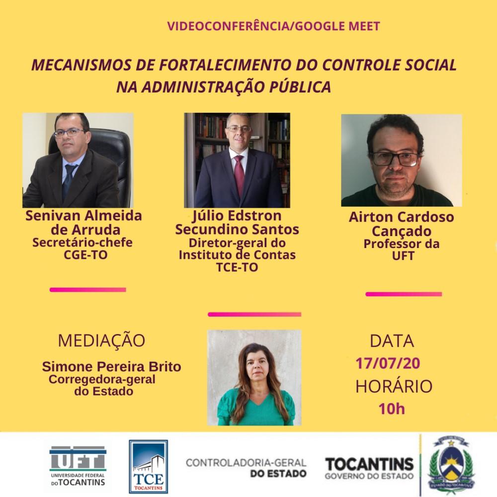 CGE Tocantins realiza videoconferência sobre controle social na Administração Pública, na sexta, 17