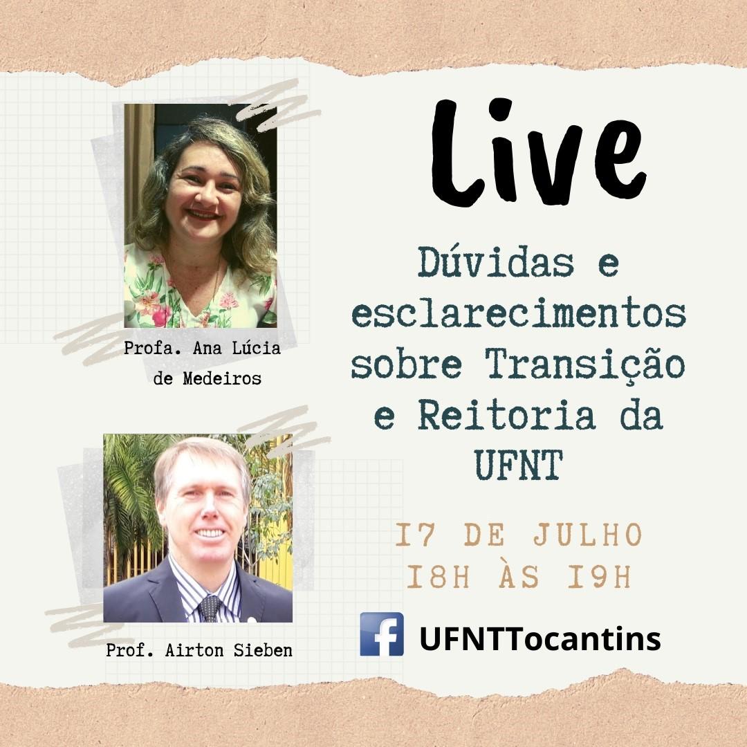 Comissão de Transição promove live nessa sexta (17) para apresentar reitor pro tempore da UFNT