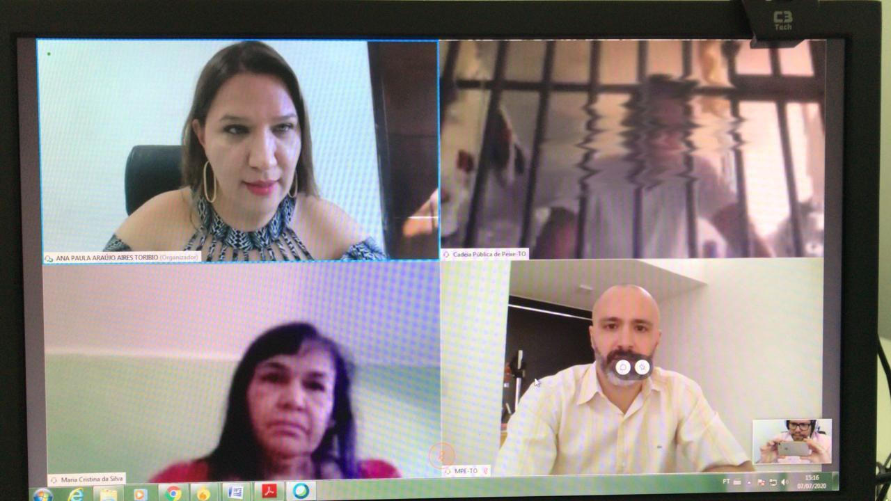Ministério Público, Poder Judiciário e Defensoria Pública prestam atendimento jurisdicional virtual aos presos da comarca de Peixe