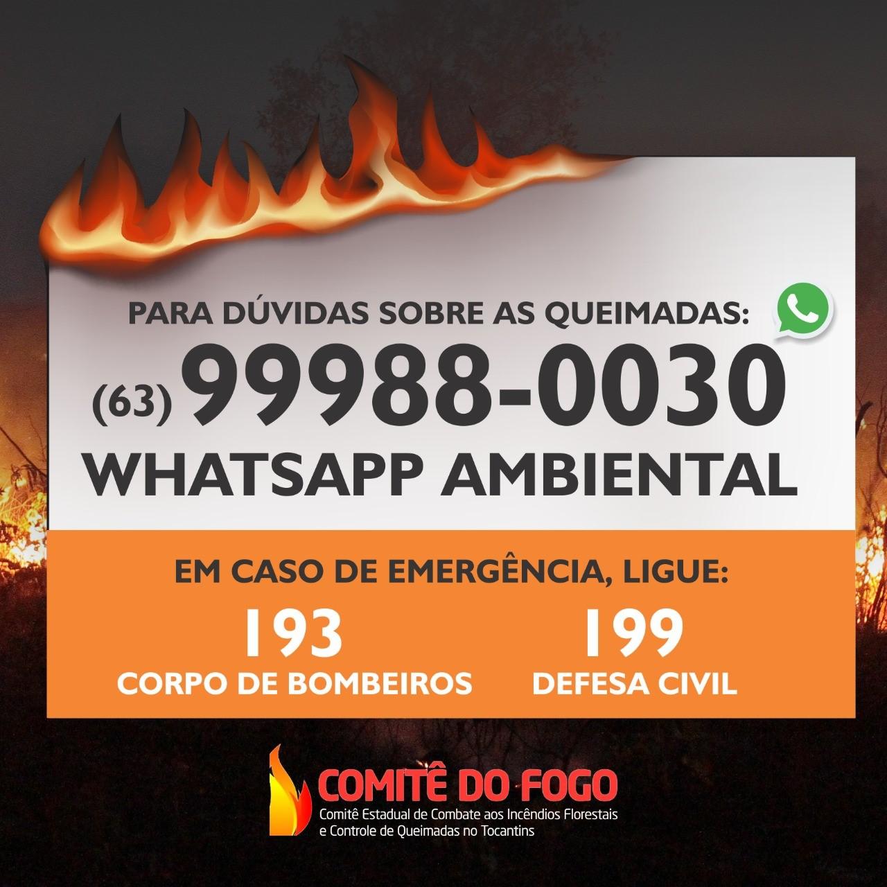 Semarh disponibiliza WhatsApp Ambiental para tirar dúvidas da população em relação às queimadas no Estado