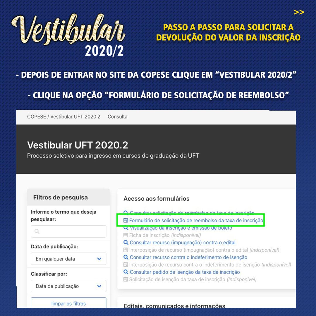 Período para solicitar devolução do valor da inscrição 2020/2 da UFT é de 12 a 24 de agosto