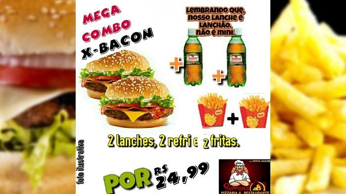 Pizzaria Serrana anuncia promoção Mega Combo X-Bacon: sanduíche, refri e fritas em dobro