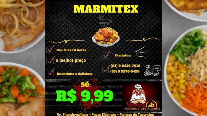 Restaurante & Pizzaria Serrana oferece marmitex por apenas R$ 9,99 em Paraíso