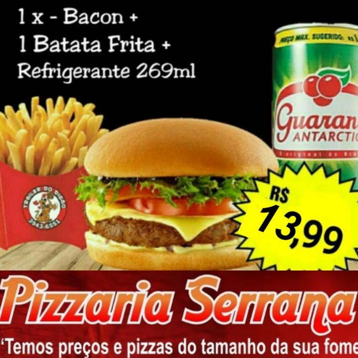 Serrana tem combo com x-bacon, batata e refri por R$ 13,99 em Paraíso