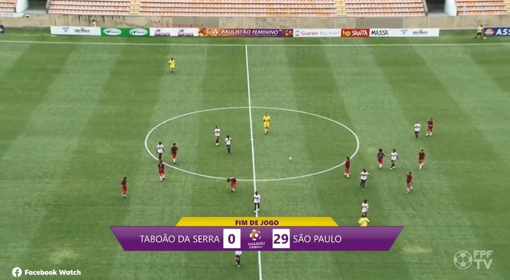 """São Paulo goleia Taboão por 29 a 0; capitã adversária desabafa: """"Nem uniforme de treino a gente tem"""""""