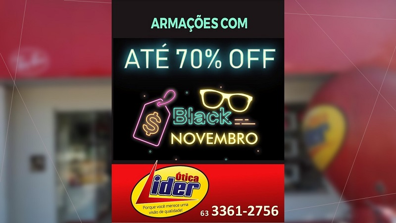Começou o Black Friday na Ótica Líder, em Paraíso: óculos de sol e armações com descontos de até 70%
