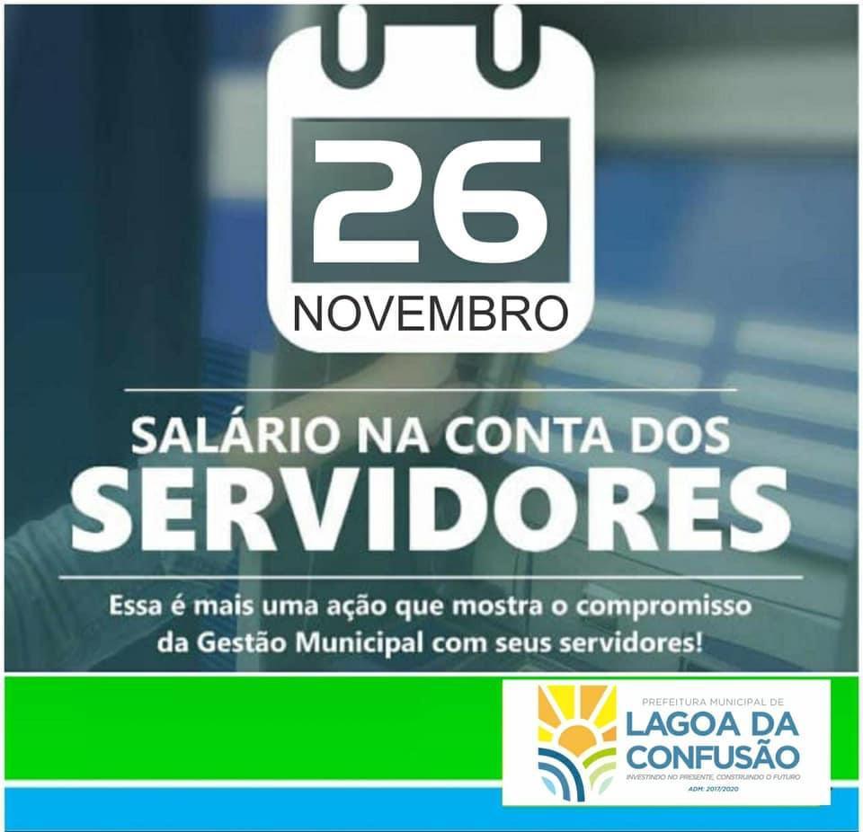 Prefeitura de Lagoa da Confusão antecipa pagamento de novembro aos servidores públicos do Município