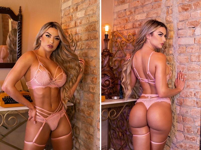 """Atriz das pegadinhas, Amanda França sensualiza em fotos de biquíni e  lingerie: """"sem retoques"""" – Surgiu"""