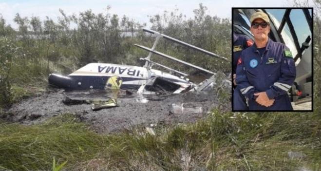Helicóptero do Ibama cai no Pantanal e mata coronel dos Bombeiros