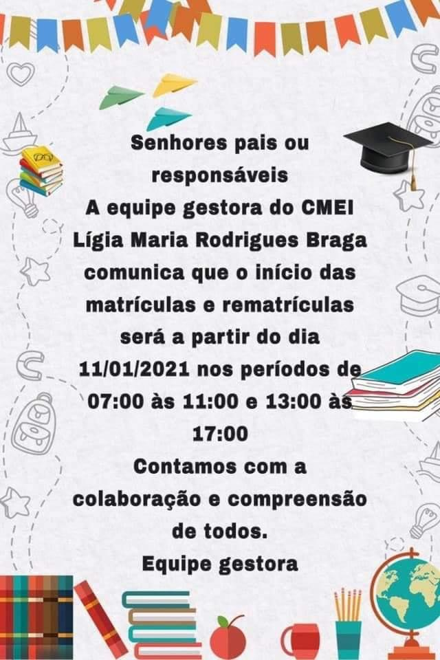 CMEI Lígia Maria Rodrigues Braga, em Pium, está com matrículas abertas