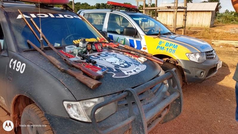 Polícia Militar e Civil apreendem arsenal de armas e munições em fazenda de Araguacema
