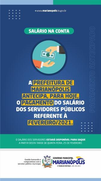 Prefeitura de Marianópolis antecipa pagamento da folha de fevereiro