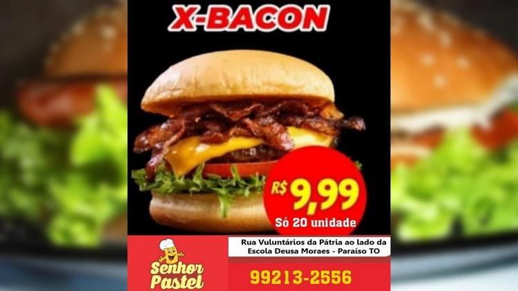 Senhor Pastel anuncia super promoção em Paraíso: X-Bacon por R$ 9,99