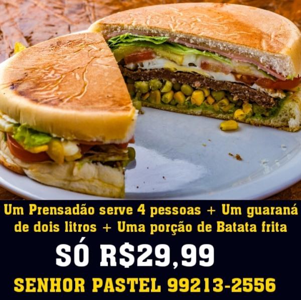Prensadão com guaraná de 2 litros e fritas está saindo por R$ 29,99 na Senhor Pastel