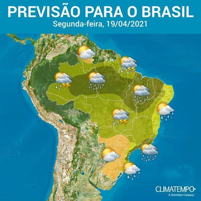 Climatempo aponta risco de chuva forte Norte, Nordeste, Centro-Oeste e Sudeste