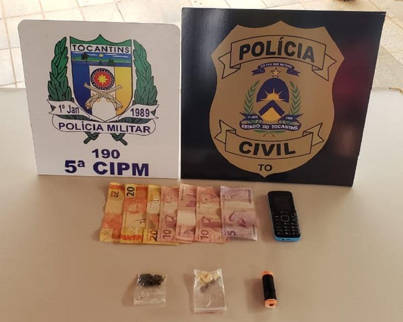 Casal suspeito de vender drogas é preso durante ação das Forças de Segurança em Tocantinópolis