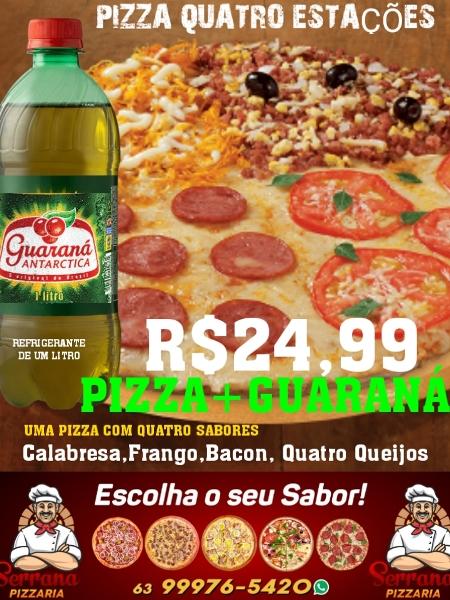 Serrana anuncia pizza grande com guaraná por R$ 24,99