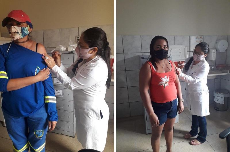 Profissionais da limpeza urbana são vacinados contra a Covid-19 em Chapada de Areia