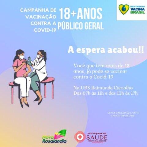 Covid-19: Nova Rosalândia inicia vacinação de moradores com 18 anos ou mais